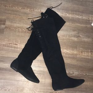 Black Bamboo over the knee suede boots-OTK